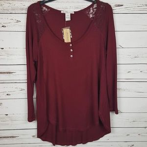 American Rag | Burgundy Waffle Knit Lace Inset Top